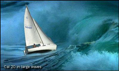 Sailboat in big waves
